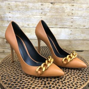 Thomas Wylde Tan Chain Front Heels Size 37